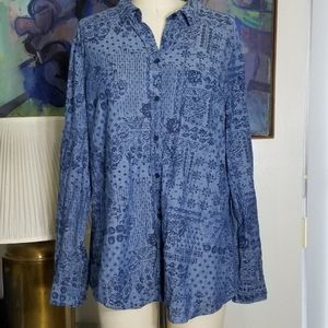 Blue Bandanna Handkerchief Print Button Up